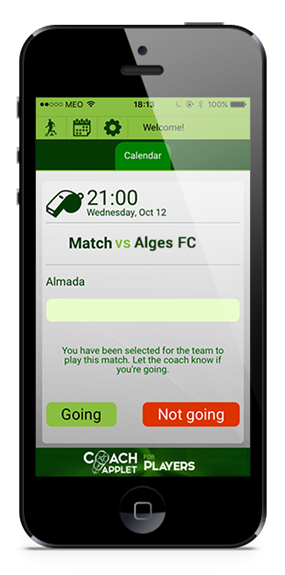 Coachapplet - invitation to attend a match