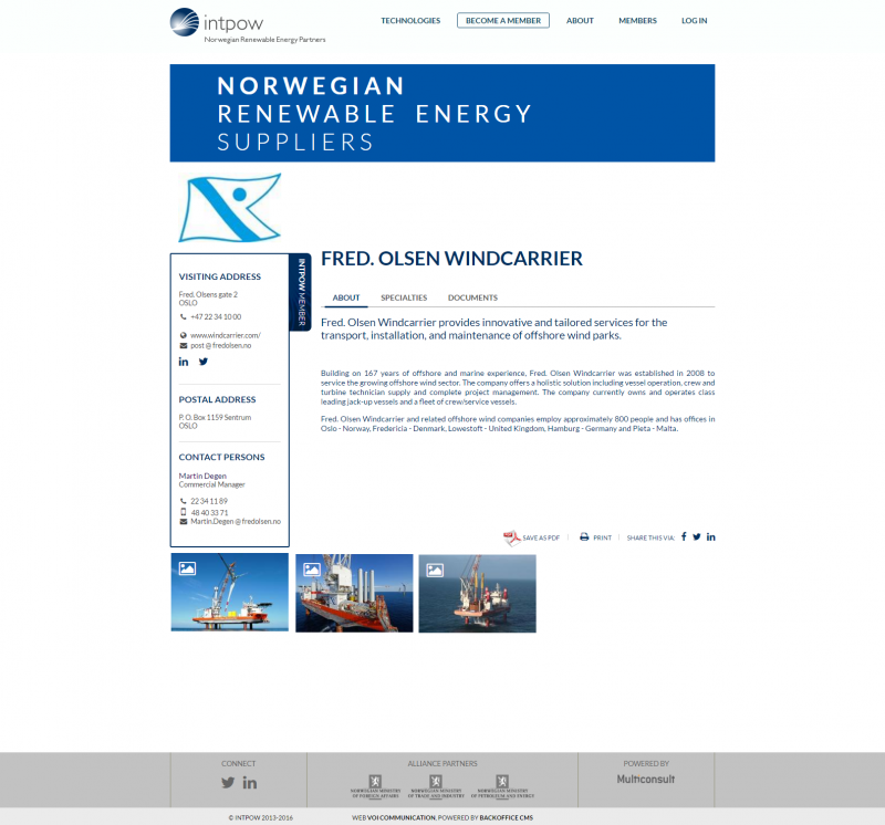 NORWEP - company detail page